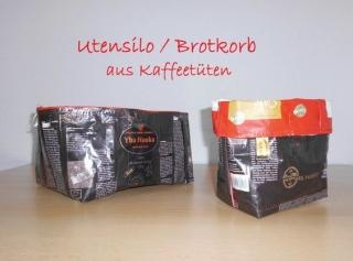Brotkorb und Utensilo aus Kaffeetüten