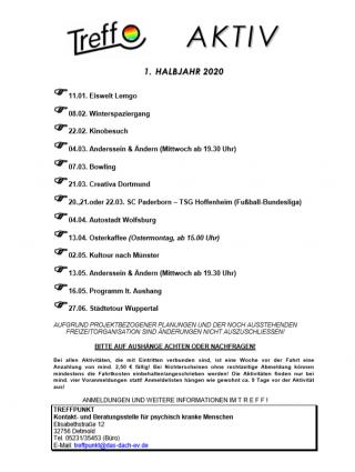 Programm erste Jahreshälfte 2020